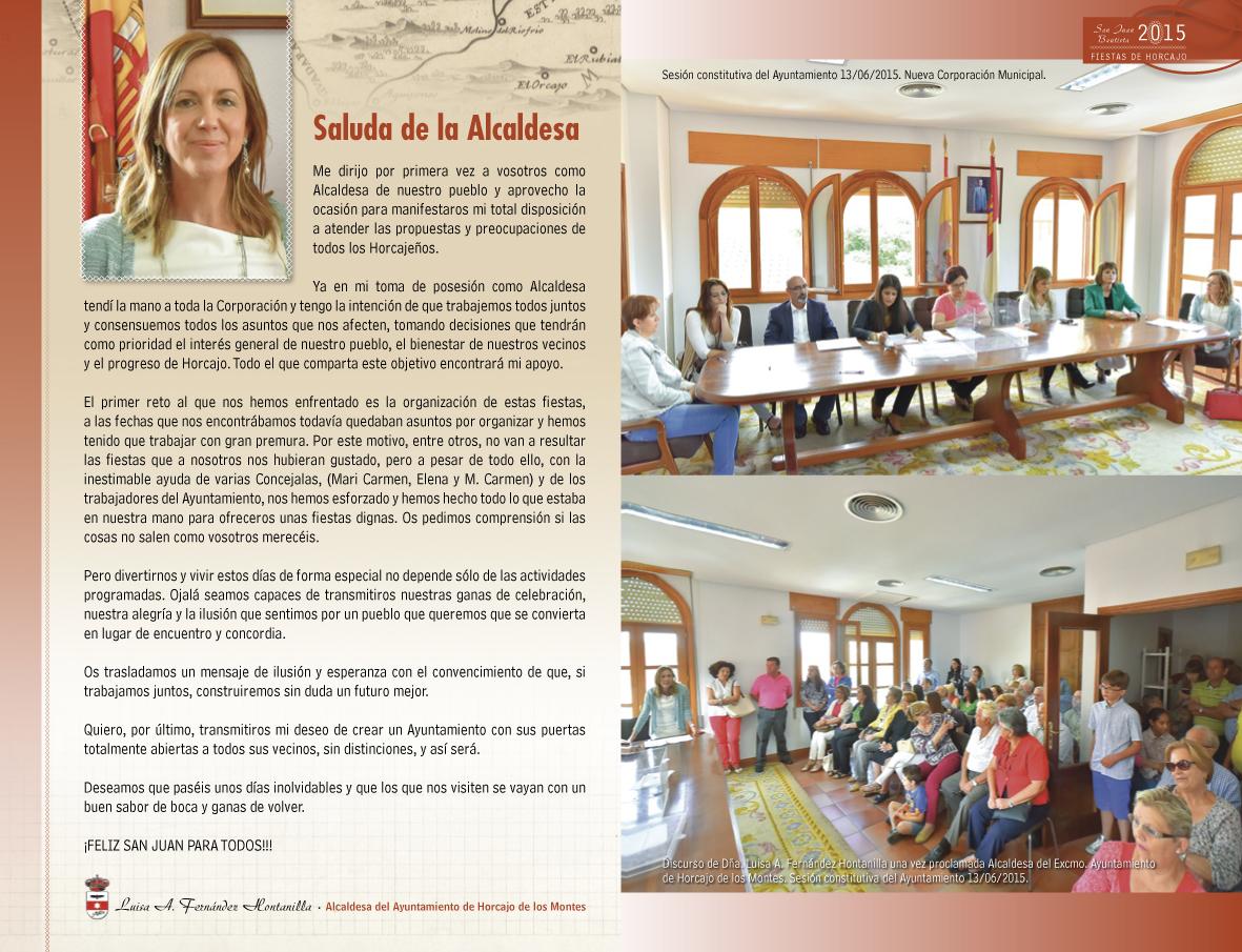 Saludo de la Alcaldesa de Horcajo de los Montes en el libro de las fiestas de San Juan